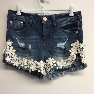 NoBo distressed lace floral denim jean shorts